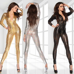 $enCountryForm.capitalKeyWord NZ - 2016 New Women Sexy V-Neck Metallic 3D Intricately Craft Hole PUNK Catsuit Jumpsuit Rompers Clubwear Party Cool Slim Playsuit