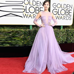 golden line dress Canada - Pretty Lavender Tulle Long Party Gowns 74th Golden Globe Awards Short Sleeves Celebrity Dresses Sleeves Red Carpet Split Celebrity Dresses