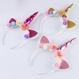 Discount angel flower headbands - 12pcs lot Glitter Cat Ear Hair Bands Kids Unicorn Horn Cospaly Hair Accessory Children Colorful Rose Flowers Princess He