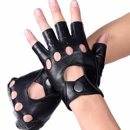 Men Gloves Leather Sheepskin Australia - Wholesale- Men Genuine Leather Gloves Semi-Finger Outside Ride Slip-Resistant Sheepskin Gulps Half Breathable Leather Gloves