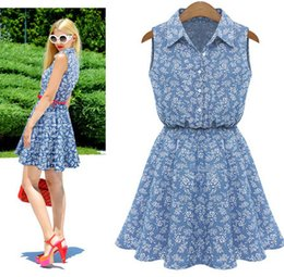 $enCountryForm.capitalKeyWord Canada - Cheap summer new denim shirt collar waist sleeveless dress LYQ225