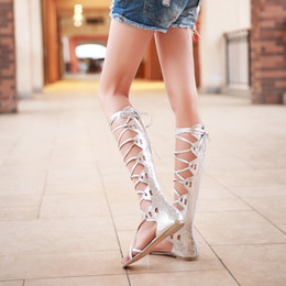 Ups Ties Canada - wholesaler free shipping factory price fashion lace up long low heel cross tied sandals girl women lady shoe 085