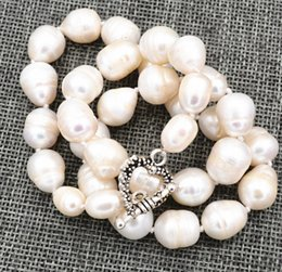 """$enCountryForm.capitalKeyWord Canada - 10-12mm BIG RICE SHAPE WHITE REAL NATURAL PEARL NECKLACE 18""""Tibetan silver love clasps"""