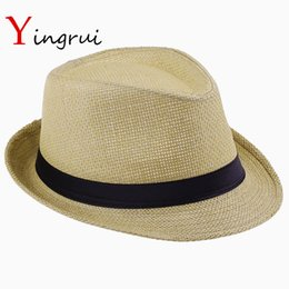 China Wholesale- Fashion Hats for Women Fedora Trilby Gangster Cap Summer Beach Sun Straw Panama Hat with Ribbow Band Sunhat cheap straw hat trilby suppliers