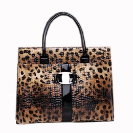 $enCountryForm.capitalKeyWord NZ - Wholesale- Leopard Top-handle Bags For Office Lady Luxury Handbags Women Bags Designer Tote Bag sac a main femme de marque luxe cuir 2016