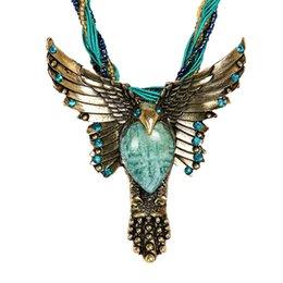$enCountryForm.capitalKeyWord NZ - New Bohemia Necklace Vintage Style Fashion Jewelry Oval Opal Pendant Eagle Set Crystal Necklace Free shipping