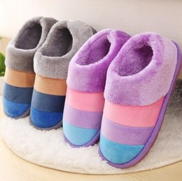 wholesale gifts homes NZ - Fashion Men Women Striped Household Slippers Unisex Plush Warm Winter Home Indoor Cotton Casual Shoes Moccasins Christmas gift drop shipping