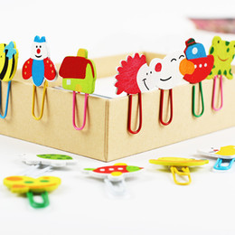 $enCountryForm.capitalKeyWord NZ - 24PCS 2 Set Cute Cartoon Animal Pattern Wooden Paper Note Clips Bookmark Paper Clip Stationery Learning Office Supplies