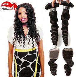 Tissage curly hair online shopping - 2017New Arrival Brazilian Virgin Hair Loose Wave With x4 Lace Closure Tissage Bresilienne Loose Curly Virgin Hair
