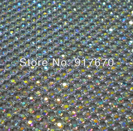 $enCountryForm.capitalKeyWord NZ - Wholesale lot 3mm Hot fix ab rhinestone chain trim with silver base mesh wrap roll, for charm christmas shoes accessories