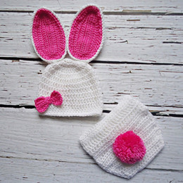 Hot Girls Diapers Canada - Newborn White&Hot Pink Easter Bunny Costume,Handmade Knit Crochet Baby Girl Rabbit Animal Hat&Diaper Cover,Toddler Infant Photo Prop