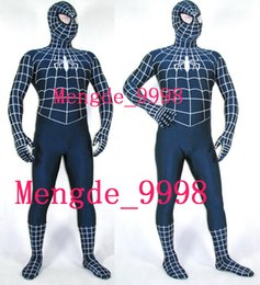 Barato Spandex De Traje Preto Spiderman-New Fancy Spiderman Costumes Black / White Lycra Spandex Spiderman Hero Catsuit Costumes Outfit Unisex Spider Suit Halloween Cosplay Suit M123