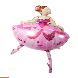 inflatable girls toys 2019 - 10pcs lot Ballerina Dancer foil ball girl doll helium inflatable Toys globos Party supplies happy birthday decoration ch