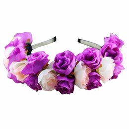 Vendas De La Boda Baratos-Venta al por mayor más reciente Rose Flower Crown Headband Wedding Festival Doble fila floral Garland Hairband