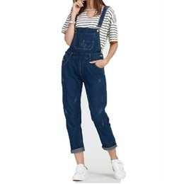 Barato Manga Longa Denim-Atacado- S-5XL Mulheres Ripped Denim Slim Jumpsuits Long Pants Casual Skinny Sexy Stretch Romper Pencil Overalls para 4 Season Female