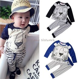 $enCountryForm.capitalKeyWord Canada - 2017 Brand New Kids Clothes Outfits Cute Lion long sleeve shirt + Striped Pants Cotton 2Pcs 0-3T