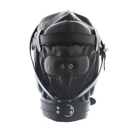 Bouche Débordante Pas Cher-Hot Sale Faux Leather Full Gimp Masque à capuche Blouson rembourré Blindfold Ouvert Mouth Gag Like Restraint Slave BDSM Bondage Sex Toys Full Head