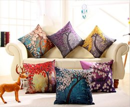 color 3d painting NZ - 3D Painting Flower Trees Sofa Throw Pillow Decor Embroidery Cushion Cover For Sofa Car Funda De Cojines Embroidery Cushion Cover