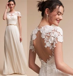 sheath wedding dresses 2018 - 2017 Newly Arrival Lace Cap Sleeves Sheath Wedding Dresses Empire Waist A Line Summer Beach Boho Bridal Gowns Floor Leng