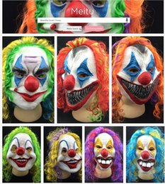 scary adult clown costumes 2019 - Wholesale-Scary Clown Mask Joker Men's Full Face Party Day Horror Funny Women Mask For kids Halloween Party Masquer