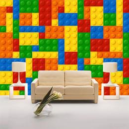 Custom Size 3D Wall Murals Wallpaper For Living Room Lego Bricks Children's Bedroom Toy Store Non-woven Mural Wallpaper Decor