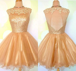 golden dresses for girls 2019 - Short A Line Homecoming Dresses Sheer Jewel Neck 2017 Golden Sequin Mini Cocktail Party Dresses For Girls Short Prom Dre