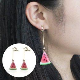 $enCountryForm.capitalKeyWord Canada - 2017 Trendy Fruit Design Watermelon Clip Earrings For Women Sweet Lovely Summer Tassel Long Drop Earrings Ear Cuff Clip Brinco