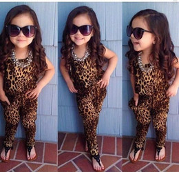 $enCountryForm.capitalKeyWord NZ - 2017 New Baby girls leopard print sleeveless playsuit Jumpsuit for summer European and American retro children girl outfits clothing sets