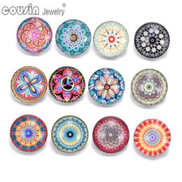 18mm bezel Canada - Wholesale 12pcs lot Mixed styles 18mm snap button Jewelry flower glass Snap Fit snap Bracelet Jewelry KZ0318