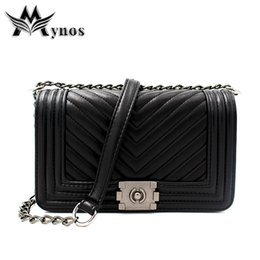 China Wholesale- New Fashion Chain Striped Women Messenger Bag Leather Crossbody Bag Handbag Casual Shoulder Bag Ladies Female Tote Sac A Main supplier blue color ladies shoulder handbag suppliers