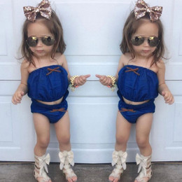 Sets Jeans Canada - Baby Toddlers Tube Tops Briefs Clothing Sets For Infants Babies Jeans Strapless Clothes Triangle Bloomers Children Kids Girls Denim Clothing
