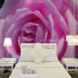 korean wallpaper pink bedroom NZ - Living room TV background wallpaper pink rose large mural bedroom wedding room 3D stereo non - woven wallpaper