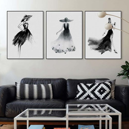 $enCountryForm.capitalKeyWord NZ - Modern Nordic Black White Fashion Model Large Canvas Art Print Poster Wall Picture Painting Beauty Girl Room Home Decor No Frame