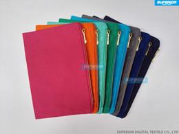 Ingrosso Nuova borsa di trucco della tela di canapa di cotone di colori solidi 100% con il sacchetto cosmetico in bianco dorato di colori di alta qualità della chiusura lampo con la fodera interna della fodera di corrispondenza