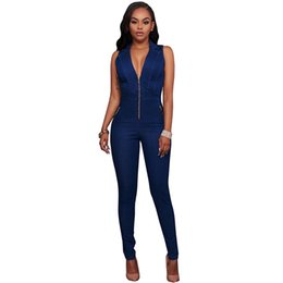 c226b245cd70 Discount macacao jeans - New Summer Women Slim Casual Jumpsuits Jeans Deep  V Sleeveless Rompers Female