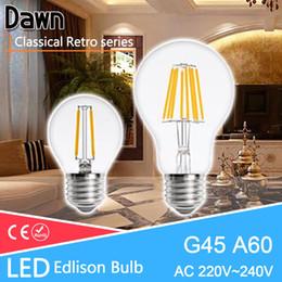 Discount replacing incandescent bulbs - Wholesale- Classical Retro E27 LED Edison Bulb A60 G45 LED Filament Light 4W 8W 12W Lamp Replace 40w Incandescent Pendan