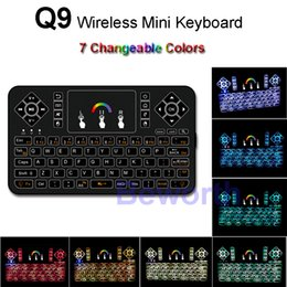 Touchpad For Laptop Canada - Colorful Backlight Wireless Mini Keyboard 2.4G Fly Air Mouse Touchpad Remote Control for Android Smart TV Box MXQ PC Laptop HTPC IPTV PS3 Q9