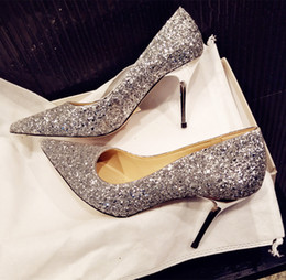 $enCountryForm.capitalKeyWord NZ - Size 33 to 41 sexy high heels silver sequined wedding shoes pointoe toe real leather shallow mouth party prom gown dress shoes 8 colors