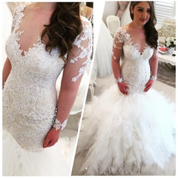 beaded lace applique wedding dresses Australia - 2019 Cascading Ruffles Wedding Dresses Arabic V Neck Long Sleeves Lace Appliques Beaded Elegant Backless Sexy Mermaid Cheap Bridal Gowns