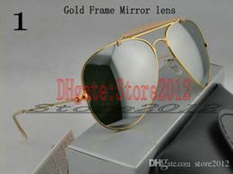 $enCountryForm.capitalKeyWord NZ - Best Quality Designer Pilot Sunglasses For Mens Womens Outdoorsman Sun Glasses Eyewear Gold Green 62mm Glass Lenses With Box*8hg