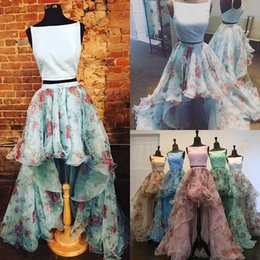 Barato Imagens De Dance Dress-Print Floral Prom Dresses 2017 com Satin Top e Open Back Imagem Real Organza 2-Pieces Hi Lo Ring Dance Dress Vestidos de Vestido Plus-Size