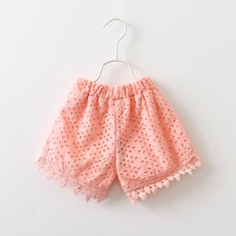Rosette baby kids online shopping - baby girl kids lace shorts short pants crochet hollow rosette rose flower floral shorts short pants panties legging bloomers Culottes