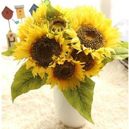 Aritificial Sunflower Bouquet For Home Wedding Decoration Handmade Silk Flower Sunflowers Sale