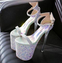 $enCountryForm.capitalKeyWord NZ - Plus Size 35-43 19cm Super High Heels Summer Women Sandals Cutout Platform Buckle Strap Sequined Leaether Women Fashion Sandals Open Toe