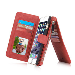 Chinese  2 in 1 Magnet Detachable Removable Zipper Leather 14 Card Money Slop Wallet Case Cover for iphone 6 7 6 plus 7 plus Galaxy s8 s8 plus s6 40 manufacturers