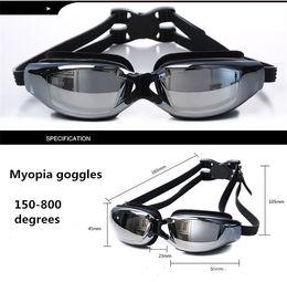 Опт Myopia Goggles Водные виды спорта Плавание Водонепроницаемые HD Anti-Fog Goggles Плавательные очки Racing Goggles Plating Myopia и Box Упаковка 426