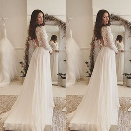 Wholesale 2018 Simple Elegant Bohemian Wedding Dresses Deep V Neck Lace Long Sleeves Chiffon Floor Length Beach Backless Bridal Gowns