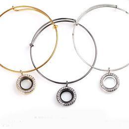 Charm Bracelet Locket Canada - 20mm Round Floating Locket Charm Bracelets With Rhinestone Luxury Stainless Steel Bangle For Women