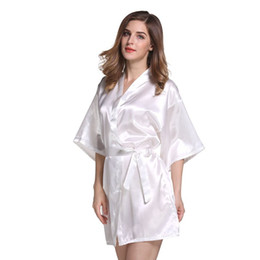 Robes De Demoiselle D'honneur Couleur Beige Pas Cher-100 pcs Sexy Imitation soie pyjamas couleur pure peignoirs cardigan rituels demoiselle d'honneur robe peignoir hot spring party bas pyjamas AP25
