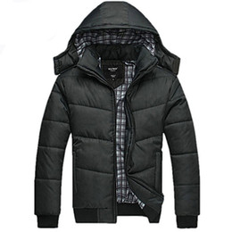 Discount mens padded coats - Wholesale- new Brand winter Jacket for men hooded coats casual mens thick coat male slim casual cotton padded down outer